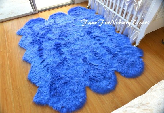 Royal Blue Shag Fur Rug In Sample Picture Nursery Rug