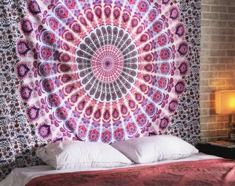 Purple Pink Peacock Hippie Indian Handmade Mandala Tapestry Queen Size Wall Hanging Multi Purpose