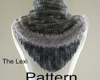 Crochet Hood and Scarf Pattern PDF Scoodie The Lexi Fur Trimmed Neckwarmer Infinity Scarf or Cowl Original Design