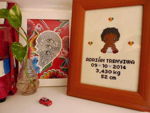 Personalize Birth Announcement Cross stitch 13x18 cm