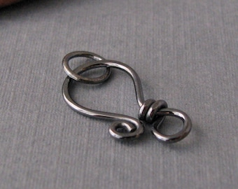 Gunmetal Clasp Sterling Silver, Handmade Oxidized Findings, Classic Wrapped, 18 gauge