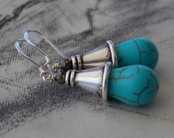 Turquoise and Pyrite Teadrop Cone Dangle Drop Earrings, Sterling Silver, Howlite, Bohemian, Tribal, Boho Chic