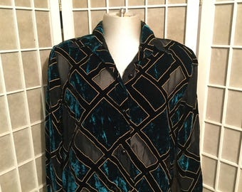1980s Velvet Sheer Green Blouse XL