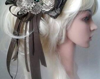Steampunk, hair clip, hair ornament, Art Nouveau, peacock, Swarovsisteine, hair bow, loop,