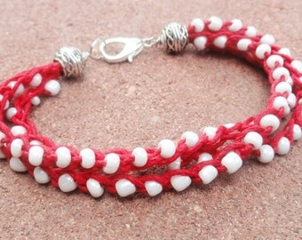 Handmade Crocheted Multistrand Baseball Red Hemp Bracelet with White Beads By Distinctly Daisy