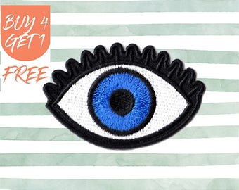 Eyeball Patch Evil Eye Patch Iron On Patch Embroidered Patch Embroidered Eyes Eye Amulet