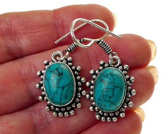 Turquoise Earrings, Bohemian Silver and Turquoise Gemstone Earrings, Turquoise Dangle Earrings, Turquoise Jewelry