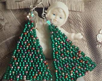 Christmas Jewelry Seed Bead Christmas Tree Earrings Beadwork Holiday Jewelry
