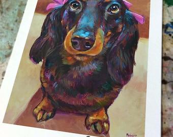 Cute and Vibrant DACHSHUND Art Print by Robert Phelps--Dachshunds, Doxie, Dachshund decor, Dachshund portrait, Weiner dog, Dachshund lover