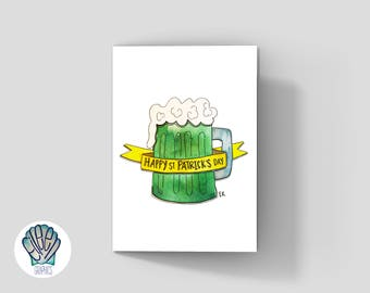 Green Beer Greeting Card • Printed in RI • Green Eco Friendly Packaging • St. Patrick's Day • Irish • Drinking Buddy  • Lucky • Newport