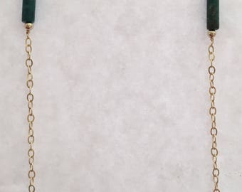 Sleek trend, necklace,  gold filled chain with delicate tubed vintage turquoise.