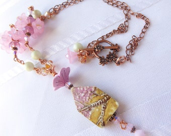 Cherry Blossom Cottage Necklace; spring necklace; polymer clay pendant; garden necklace