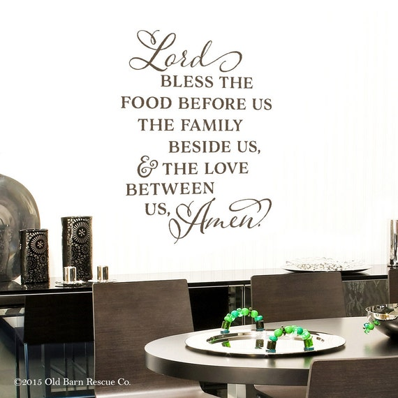 Lord Bless The Food Before Us Vinyl Wall Decal Kitchen Quote