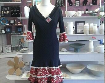 Red ruffle flower flamenco dress