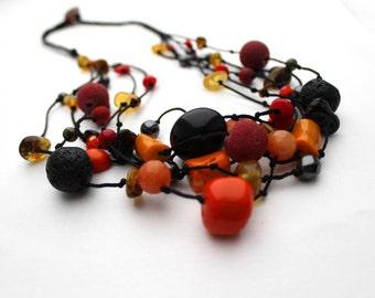 Black Orange Necklace Multi Strand Hot Fire Gemstone Jewelry Raw Amber Red Coral Black Lava Stone Warm Colors Boho