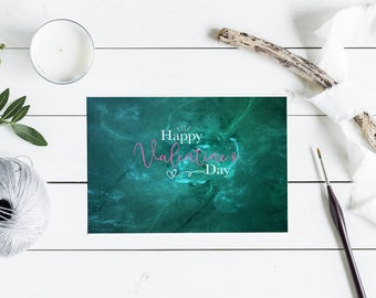 """Happy Valentine's Day Card Set - Pink and Green 7x5"""" Flat Cards"""