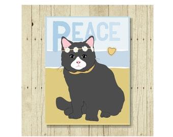 Peace Magnet, Cat Gift, Cat Magnet, Cat Art, Kitten Magnet, Cat Lover Gift, Cat Lady Gift, Cat Designs, Cat Decor, Hippie Art, Grey Cat