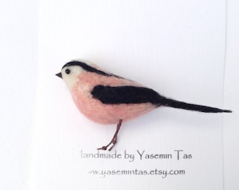 Felted Long-tailed Tit Brooch