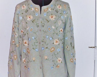 VTG Embroidered Floral Pastel Green Cardigan XL, 1x
