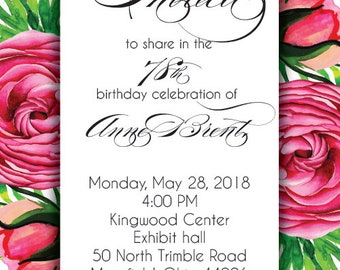 Floral Birthday Party Invitations