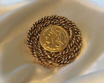 French coin brooch