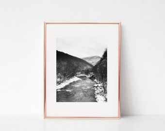 Mountain River Grey Wall Art, Printable Art, Photography Print, Wall Decor, Wall Art
