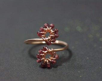 Red Garnet Ring, Rose Gold Ring Adjustable Ring Delicate Flower Ring Select Ring Size UK January Birthstone Ring Small Wrap Ring