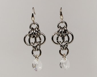 Genuine Swarovski crystal chain maille earrings (crystal clear)