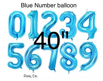 "Blue 40"" number Balloon jumbo / foil balloon/ number balloons/ blue / 40 inch"