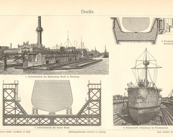 1903 Floating Docks and Dry Docks Vintage Engraving Print