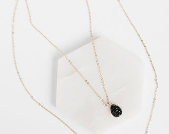Druzy Layered Necklace, Black Necklace, Gold Necklace, Gold Druzy Necklace, Druzy Necklace, Layered Necklace, Stone Necklace