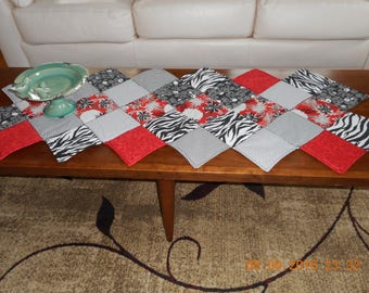 Quilted Modern Red, Black and White Table Runner