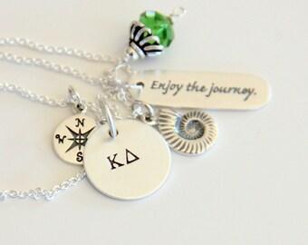 Nautilus Grad Necklace - Graduate 2015 - Compass - Beach Lover Necklace - Seashell Necklace - Milestone Birthday- Grad Gift