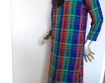 Vintage 1960's Woven Wool Plaid Dress* Size Large .Blue, Green, Rust Plaid . Mandarin Collar . Double Breasted . Satin Bow. Bold Colors