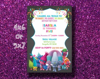 Trolls Invitation Trolls Poppy Party Birthday Party Biggest, Craziest, Loudest Party Ever Trolls Kids Party Trolls Printable Size 4x6 OR 5x7