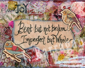 Yoga decor, mantra art, New Age Gift, Imperfect, Spiritual gift, wall art, Inspirational quote, Mixed Media, Jackie Barragan, Courage & Art