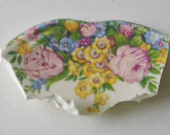 Craft Supplies - Mosaic Focal Piece - Yellow Pink Roses w Flowers-Broken Plate Pieces -  Vintage Tessera Piece