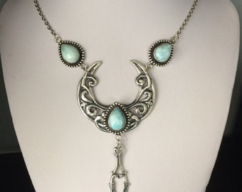 Filigree larimar crescent necklace