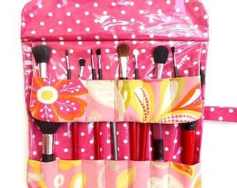 Pink Floral Makeup Brush Roll Up, Travel Brush Holder, Brushes Organizer, Makeup Brushes Case, Cosmetic Brush Roll, Brushes Storage