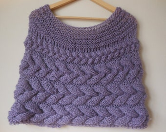 Cable Knitted Shawl Capelet Wedding Shrug Poncho Neck Warmer  Lavendar Choose Color