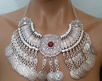 TRIBAL FUSION Belly Dance Boho Festival Statement Coin NECKLACE Jewellery
