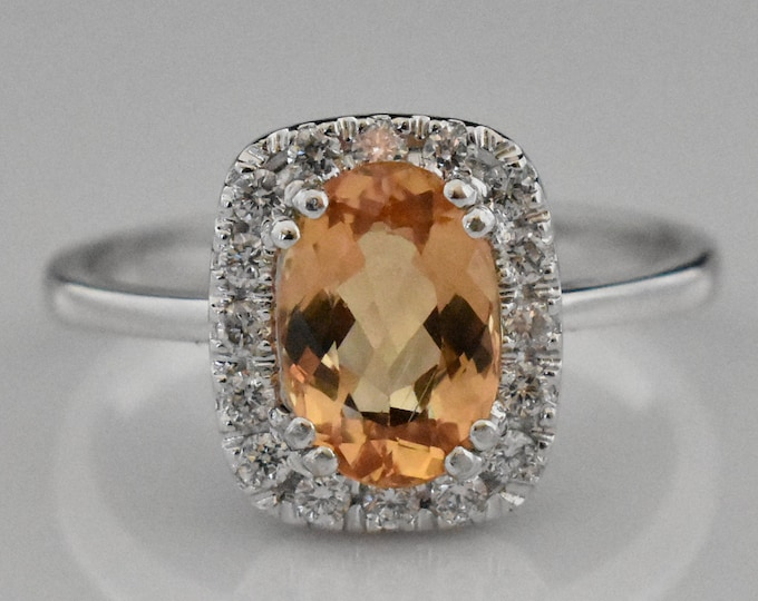 14K White Gold Imperial Topaz Ring | Wedding Ring | Statement Ring | Engagement Ring | Anniversary Ring | Diamond Halo | Handmade Jewelry