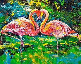 Flamingo art, Pink flamingo, American Flamingo, Pink bird, Florida room art, Pittsburgh artist, by Johno Prascak, Johnos Art Studio