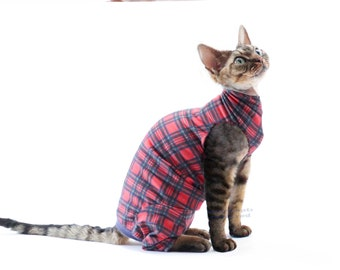 Sphynx Cat Clothes Red Plaid Jersey with neck options. The Feline Foursie ™  4Down 4Z