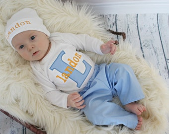 New Baby Gift  Baby Boy Clothes   Coming Home Outfit  Personalized Baby Boy Take Home Outfit Personalized  Newborn Gift Set