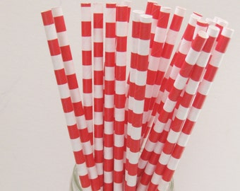 25 Paper Red & White Ringed Straws - Free Printable Straw Flags