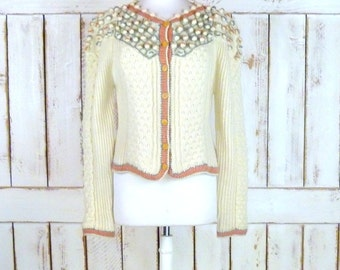 Vintage chunky ivory woven knit wool cropped cardigan sweater/ribbed sweater