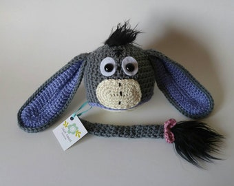 Ready to Ship - Newborn Props - Eeyore Hat and Tail - Newborn Hat - Donkey Hat - Baby Shower Gift - Gender Neutral Gift -  Photography Props