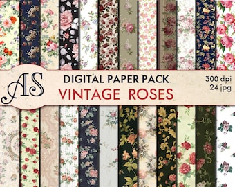 Digital Vintage Roses Paper Pack, 24 printable Digital Scrapbooking papers, Floral Digital Collage, roses clip art, Instant Download, set 31