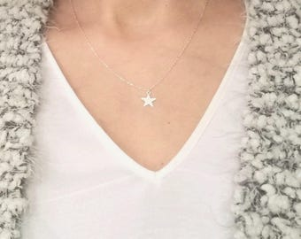 Sterling silver star pendant necklace - Tiny star necklace - Minimalist necklace - Dainty necklace - Delicate necklace by Paul et Manon